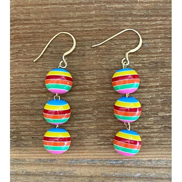 Three Rainbow Balls earring