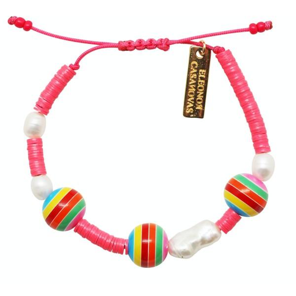 Pulsera Pink & Bolas Rainbow