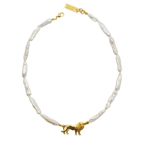 Collar mini Lion perla alargada