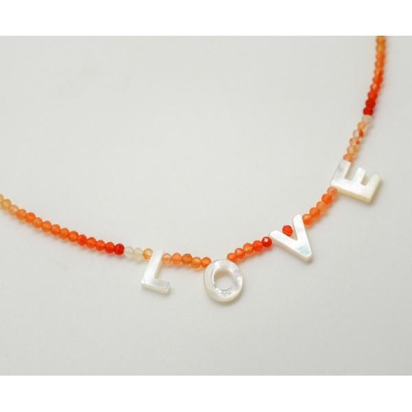 My Name Necklace -carnelian stone