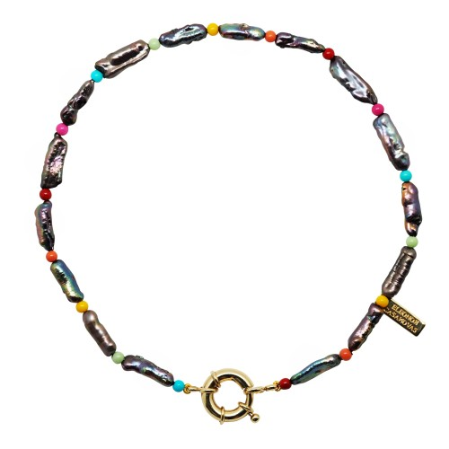 """""""My Black & Rainbow Pearls"""" Necklace with or without Initial"""