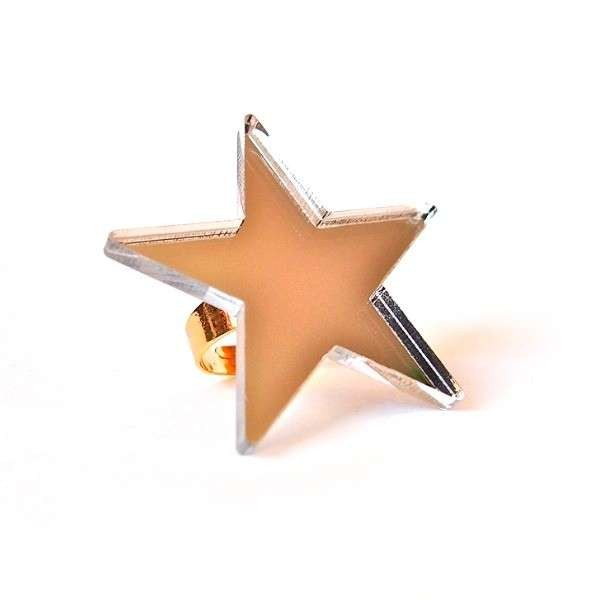 Silver mirror Star Ring