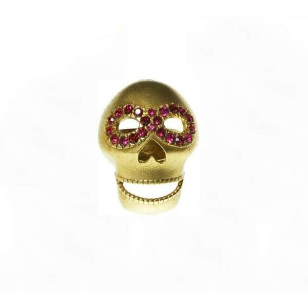 Fuchsia Masked Skull Ring