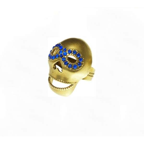 Blue Masked Skull Ring