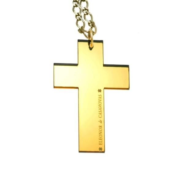 Colgante Cruz espejo oro
