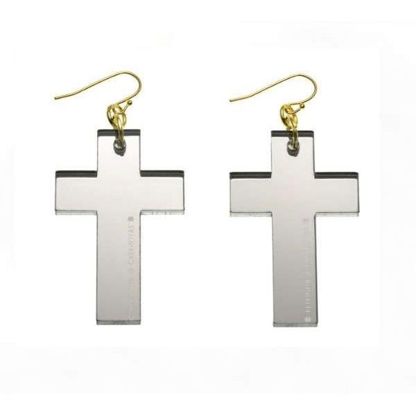 Silver mirror Cross earrings